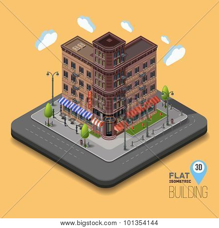 Vector city with isometric old buildings and cafes in the middle.