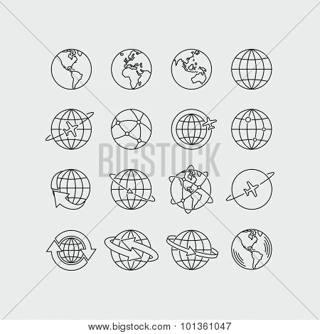 Earth Global Communication Vector Icons Set