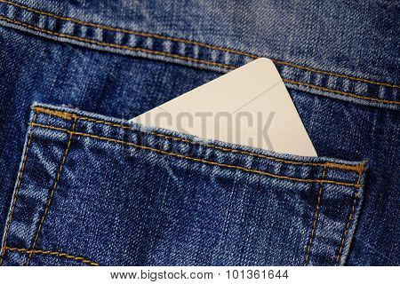 Jeans pocket with business card