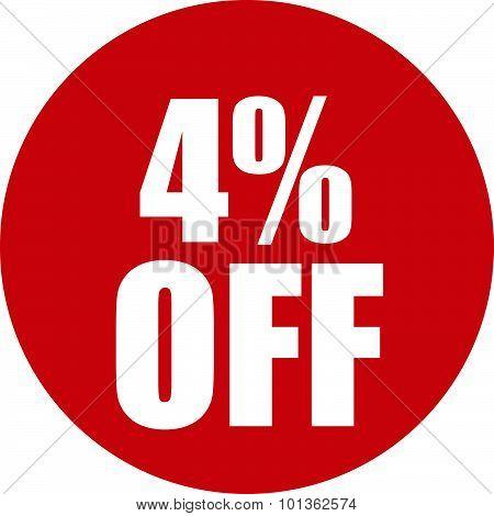 4 Percent Off Icon