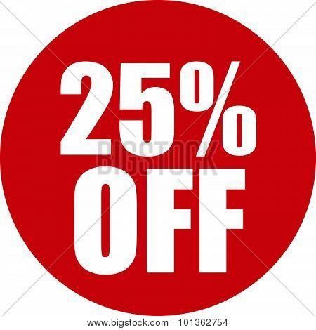 25 Percent Off Icon
