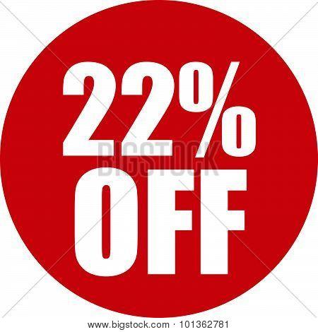 22 Percent Off Icon