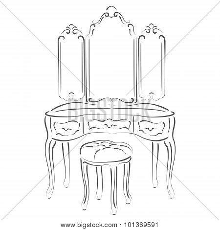 Sketched retro dressing console, pier-glass, dressing table. Design template for label, banner or postcard. Raster illustration. poster