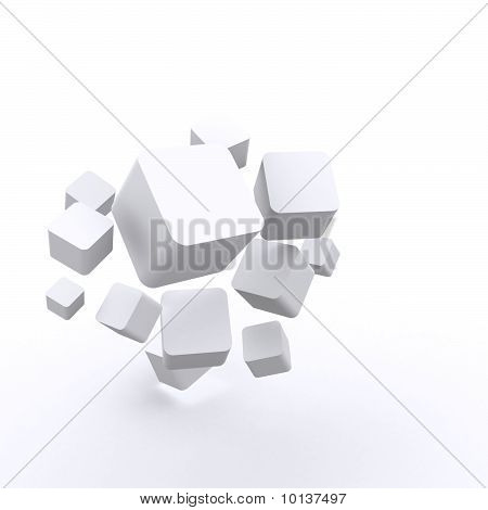 3d Render of blank White Cube Boxes useful for business theme. poster
