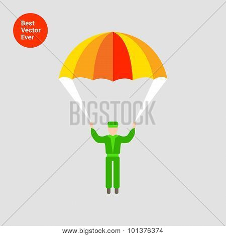 Vector icon of man silhouette with parachute poster
