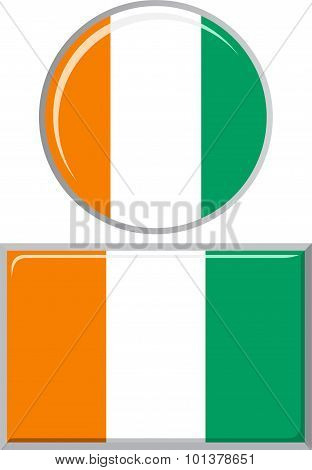 Cote d Ivoire round and square icon flag. Vector illustration.