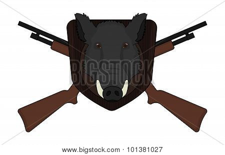 Hunting logo boar head with shotguns
