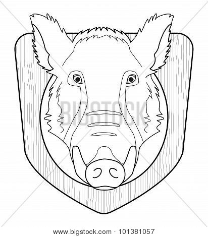 Boar head in wood shield. Contour