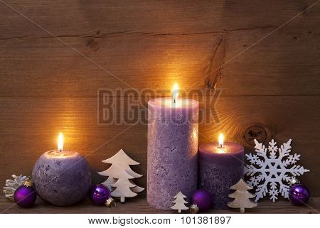 Purple Christmas Decoration With Candles