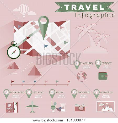 Planning Travel Infographics. Colorful Illustration for a Flyer or a Booklet. Digital Vector Background Image. poster