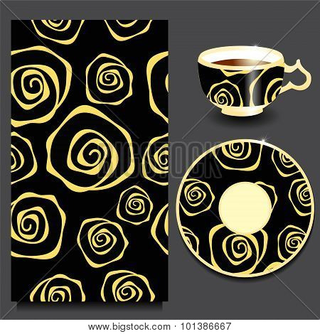 Vector Seamless Floral Russian Or Slavs Pattern With Cup And Plate.