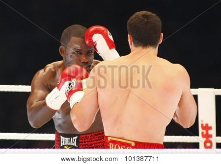 MANNHEIM GERMANY 13 DECEMBER 08: Wladimir Klitschko (UKR) and Hasim Rahman (USA) contesting the IBF and WBO heavyweight championship title fight in the SAP ARENA.