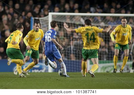 LONDON ENGLAND 23 NOVEMBER 2010. Chelsea's midfielder Josh McEachran in action during the UEFA Champions League match between Chelsea FC and MSK Zilina, played at Stamford Bridge.