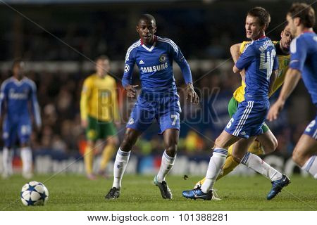 LONDON ENGLAND 23 NOVEMBER 2010. Chelsea's midfielder Ramires and Chelsea's midfielder Josh McEachran in action during the UEFA Champions League match between Chelsea FC and MSK Zilina