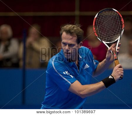 LONDON, ENGLAND. 05 DECEMBER 2009 -   Stefan Edberg (SWE) competing in a preliminary match in the the season finale to the ATP Champions Tour match during the AEGON Masters Tennis