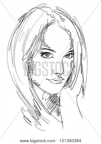 Drawing portrait of young woman. Vector female face. Sketch of beautiful girl.
