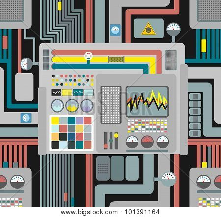Production System. Control Panel Seamless Pattern. Background Of Wires And Sensors And Devices. Vect