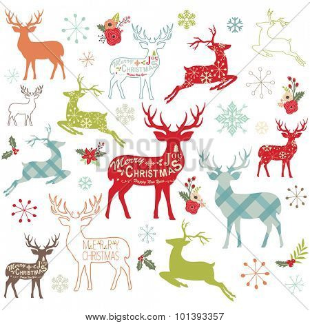 Christmas Reindeer Design Elements