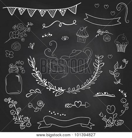 Vintage Romantic Set In Vector. Stylish Romantic Elements For Party. Chalkboard Background. Ideal Fo
