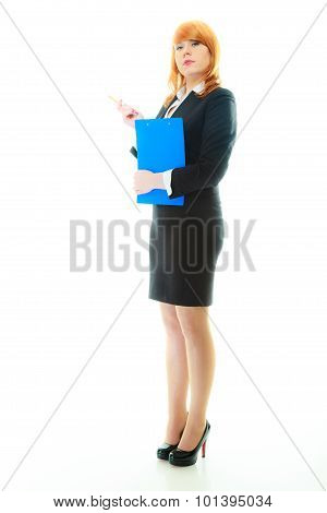 Woman Holding Blue Clipboard