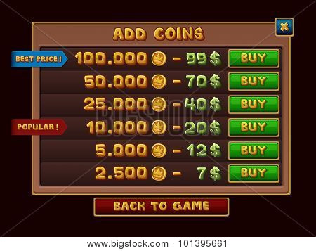 Add coins interface for games. Vector illustration