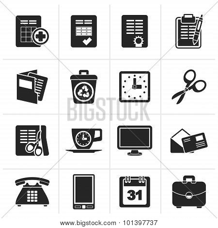 Black Business and office tools icons