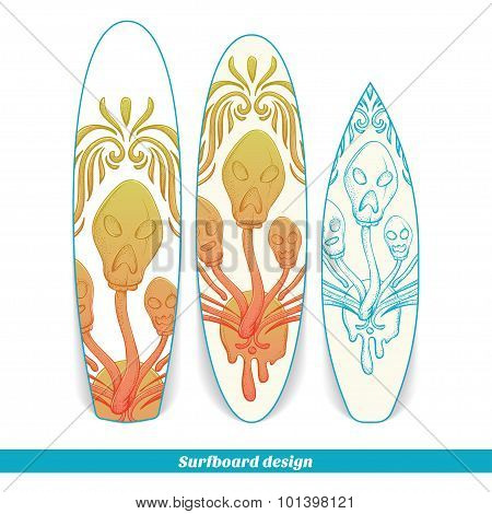 Surfboard Design Abstract Mushroom Three