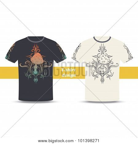 Tshirt Design Abstract Mushroom Three