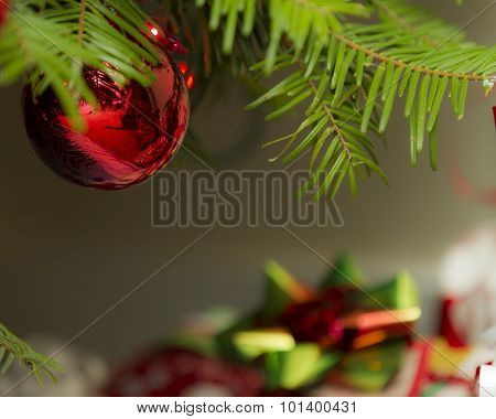 Christmas Decoration Against The Presents