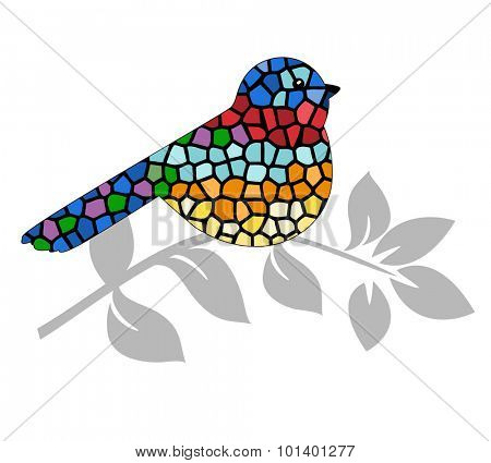 Stained glass bird perched on branch