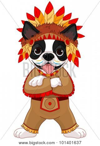Illustration of cute Boston terrier wears Native American costume