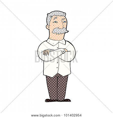 comic book style cartoon old man