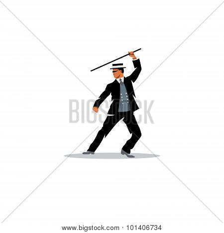 Bartitsu Mixed Martial Arts. A Man With A Cane. Vector Illustration.
