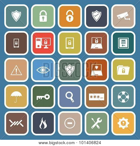 Security Flat Icons On Blue Background