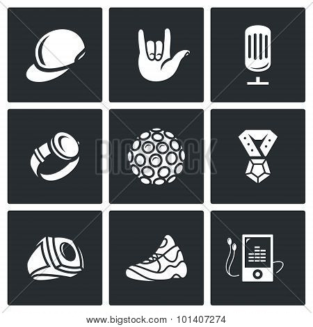 Attributes rapper icons set. Vector Illustration. Isolated Flat Icons collection on a black background for design