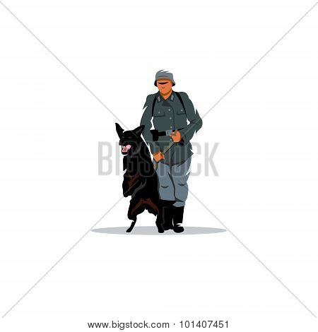 Germany soldier with dog. Vector Illustration. Design template Isolated on a white background