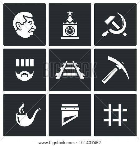 Soviet Union and the repression of political prisoners icons set. Vector Illustration. Vector Isolated Flat Icons collection on a black background for design