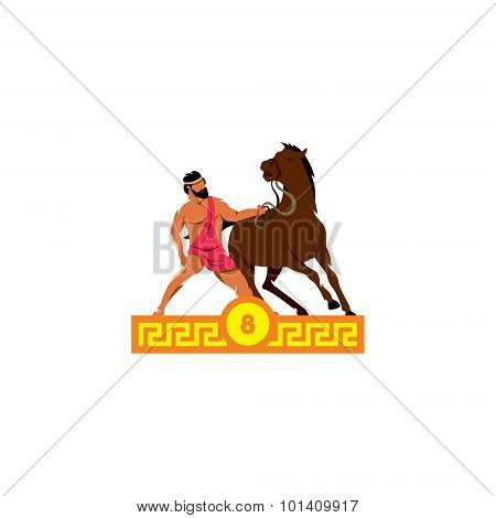 The Eighth Feat Of Heracles. Diomedes Horses. Vector Illustration.