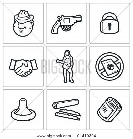 Crime And The Slave Trade Icons Set. Vector Illustration.