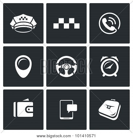 Taxi Service icons set. Vector Illustration. Isolated Flat Icons collection on a black background for design