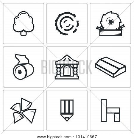 Wood Products Industry Icons Set. Vector Illustration.