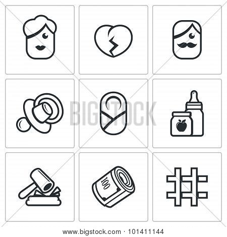 Divorce of parents, education the child, alimony payments icons set. Vector Illustration. Vector Isolated Flat Icons collection on a white background for design