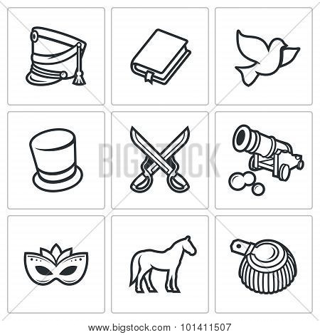 Hussars. The Novel War And Peace Icons Set. Vector Illustration.