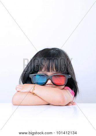 Little girl watching 3D movies