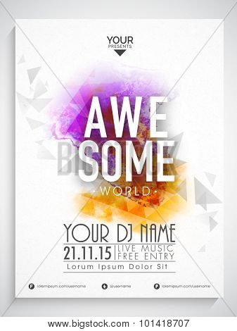Creative abstract flyer, template or banner design decorated with colorful splash for Awesome Party.