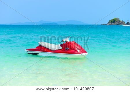 Red Jet Ski On The Beach Of Andaman Sea