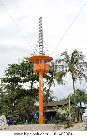 Tsunami Siren On Pole , Phuket, Thailand
