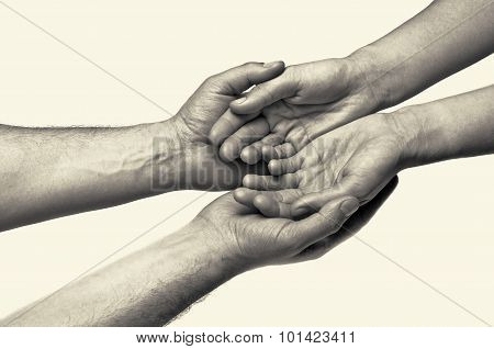 black and white toned picture of hands (trust between the two) poster