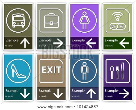 Direction signs mockup. Color templates to create indoor or outdoor direction pointers. poster