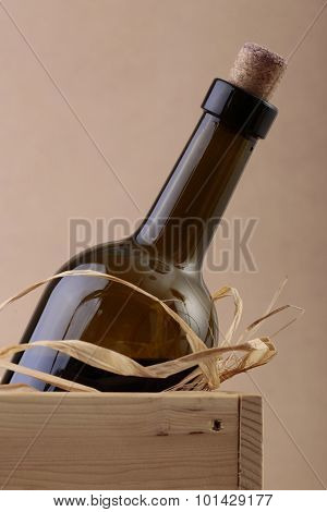 Uncorked Bottle Of Wine In Box